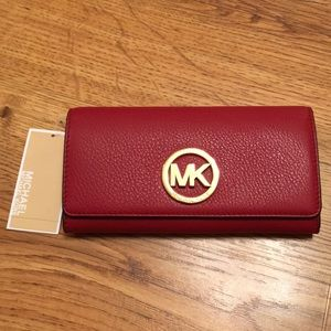 NWT Michael Kors Fulton Red Leather Wallet